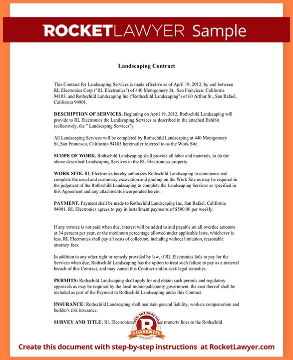 Landscaping Contract Template.Sample Landscaping Contract Form ...