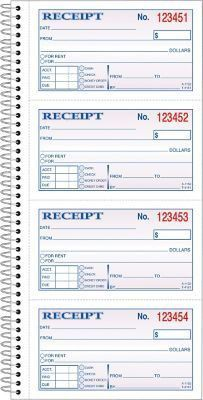 "Adams® Carbonless Money/Rent Receipt Books, Spiral Bound, 5-1/4"" x ..."