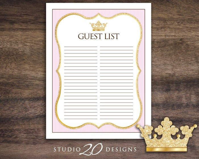 Instant Download Pink Princess Guest List, Printable Glitter Pink ...