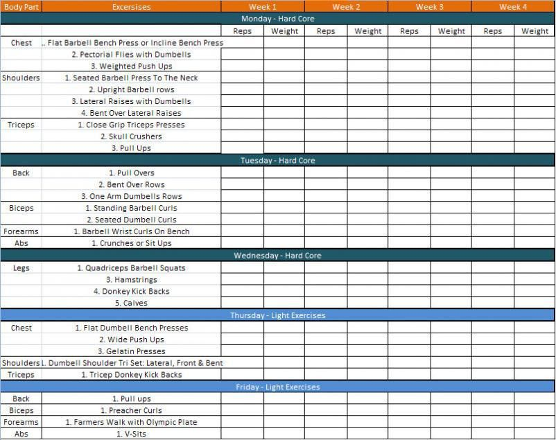 Daily Workout Schedule Template | Stuff To Buy | Pinterest | Daily .