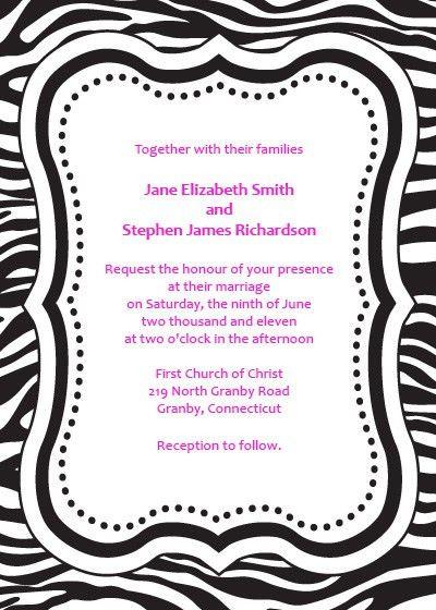 Zebra Print Free Invitation Template ← Wedding Invitation ...