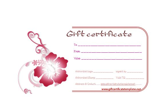 Flower gift certificate templates