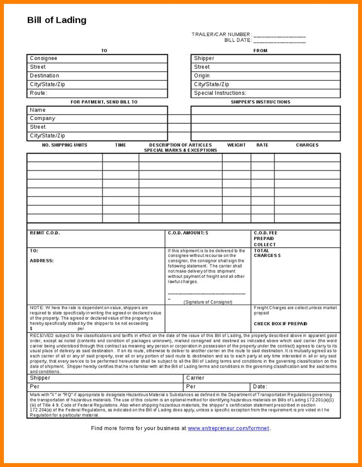 Uniform Bill Of Lading Form | Create professional resumes online ...