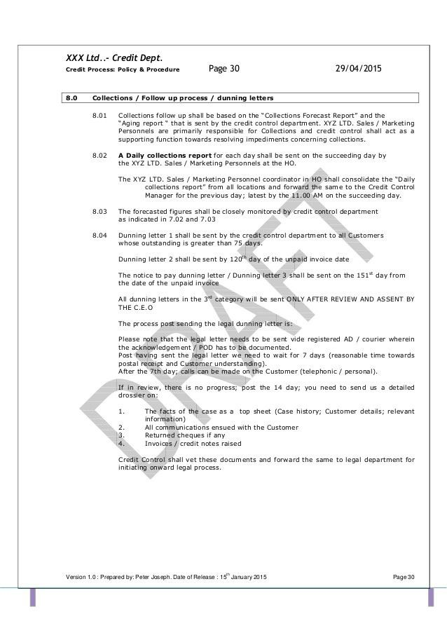 TEMPLATE Credit Policy and related SOPs PDF (1)
