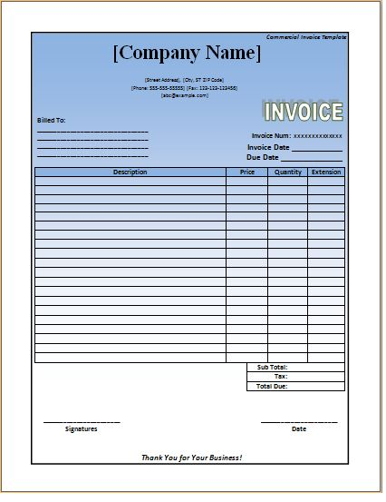 Commercial Invoice Template – Excel Word Templates