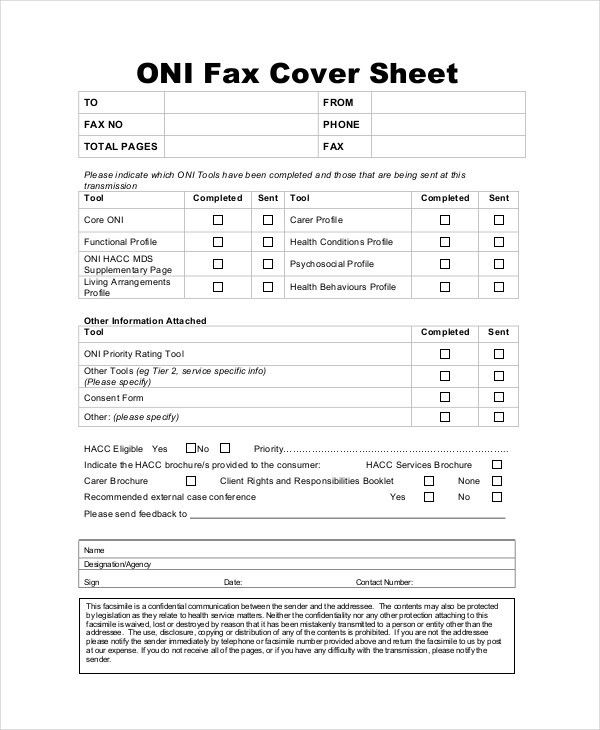 Fax Cover Letter - 8+ Free Word, PDF Documents Download | Free ...