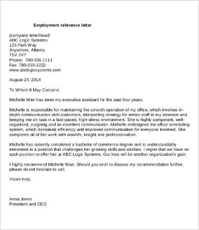 Letter of Recommendation For Employment - 9+ Free Word, PDF ...