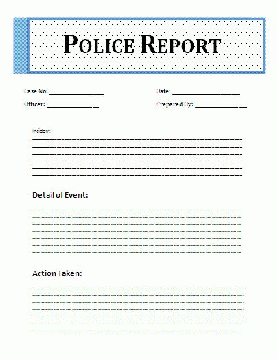 Printable Sample Police Report Template Form | Laywers Template ...