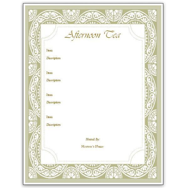 Hosting a Tea? Download an Afternoon Tea Menu Template for MS ...