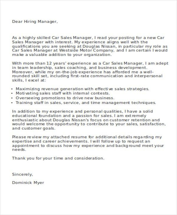 Sales Cover Letters - 10+ Free Word, PDF Format Download | Free ...