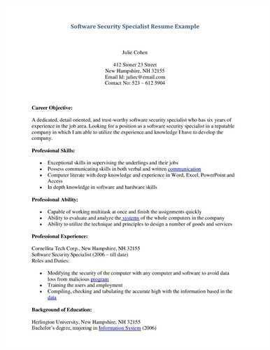 "Security Specialist <a href=""http://resume.tcdhalls.com/resume ..."