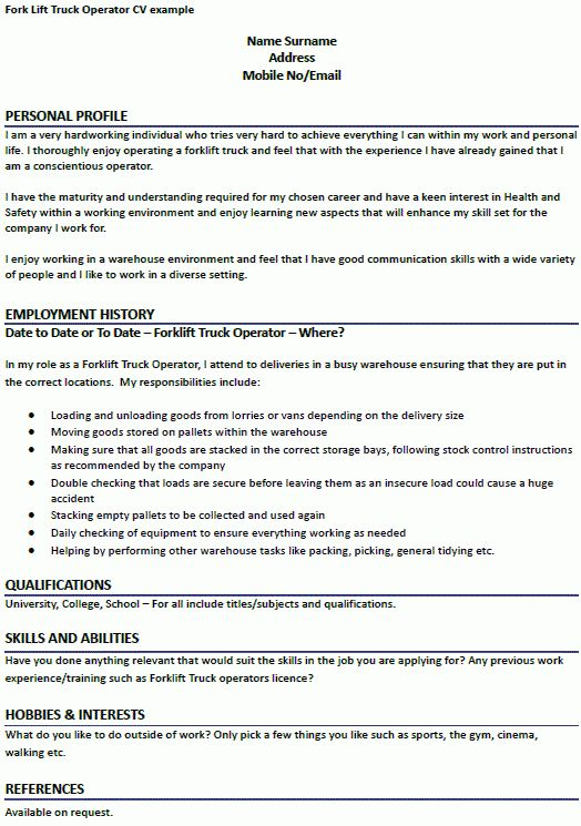 Fork Lift Truck Operator CV Example - forums.learnist.org