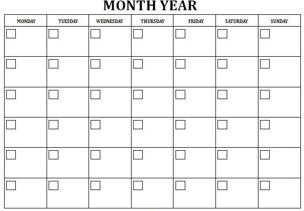Free Blank Calendar Template   Calendar Picture Templates
