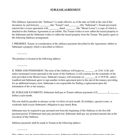 Sublease Agreement - Sample, Template - Word & PDF