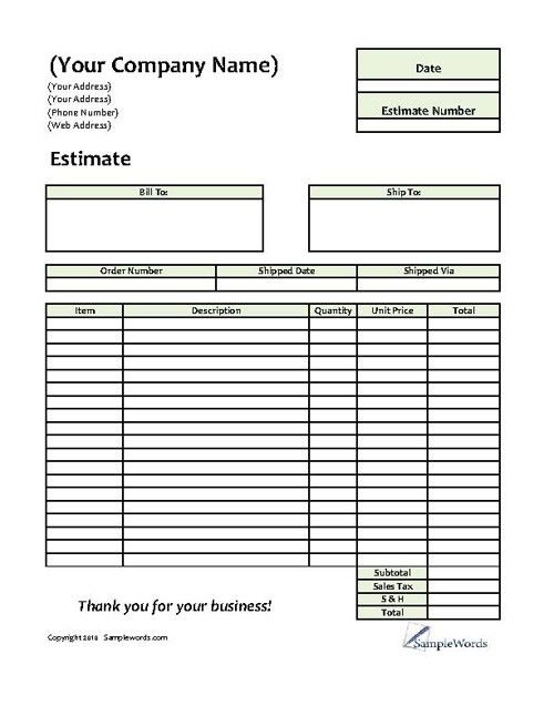Estimate - Printable Forms & Templates