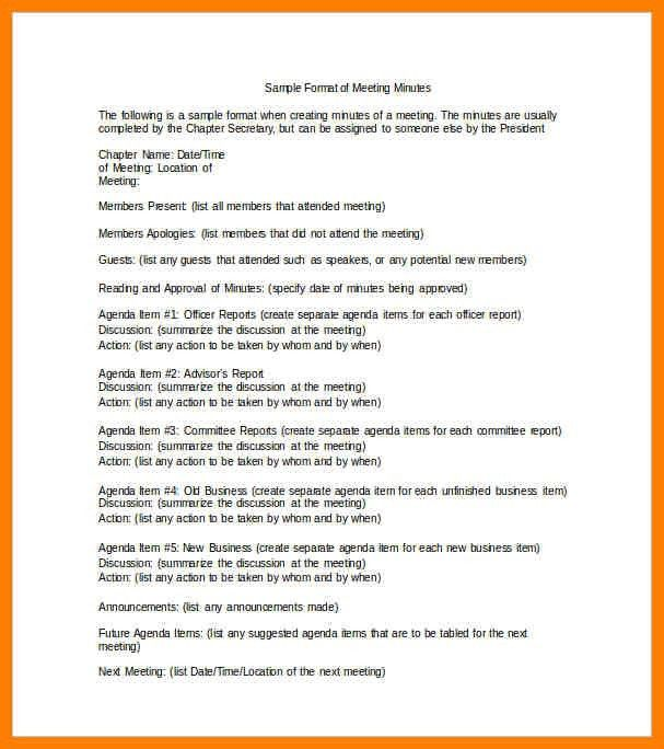 8+ format for meeting minutes | lease template
