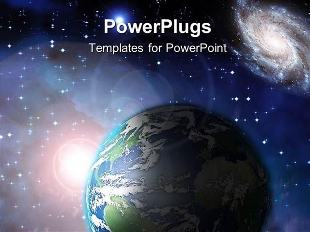 PowerPoint Template: Earth floating in space with lots of stars ...