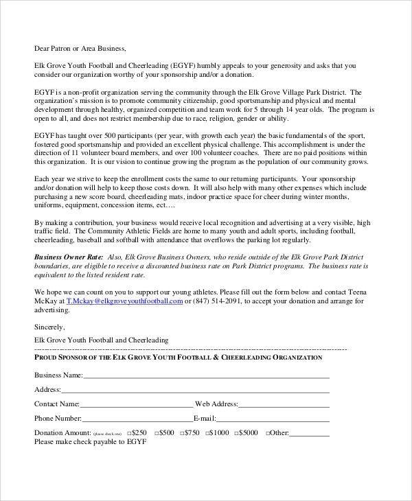 Sample Sports Sponsorship Letter - 6+ Documents in PDF