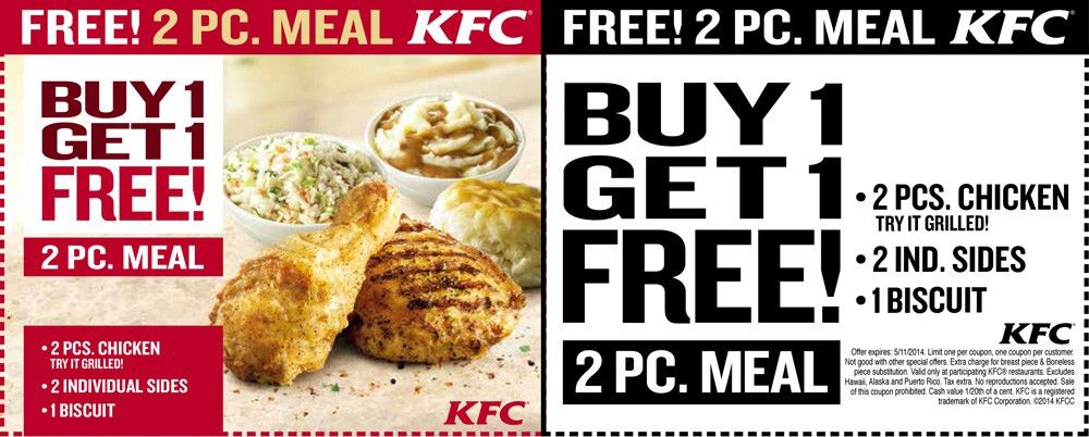 DEAD - here's a printable, instead! KFC BOGO coupon giveaway ...