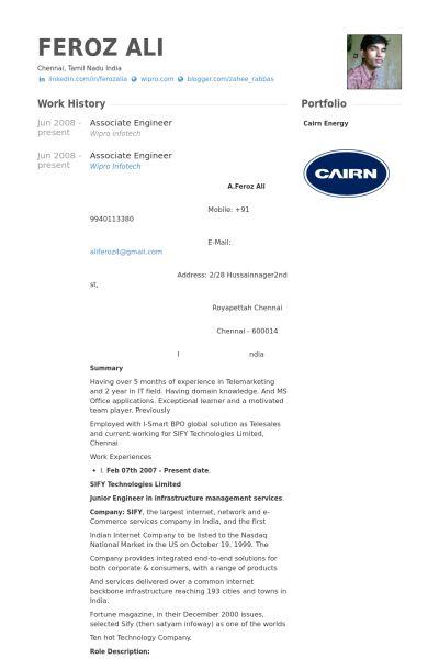 Associate Engineer Resume samples - VisualCV resume samples database