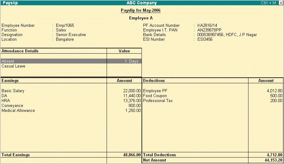 Template For Payslip Employee Payslip Template For Ms Excel Excel – Payroll Payslip Template