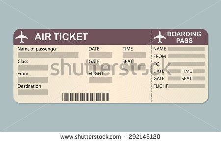 Airline Boarding Pass Ticket Template Detailed Stock Vector ...