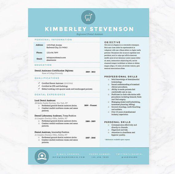 Blue Dental Assistant Resume Cover Letter & References