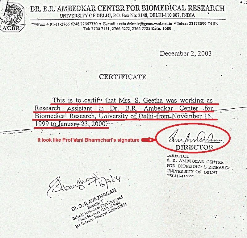 Fake Experience Certificate issued from Dr.B.R.Ambedkar Centre for ...