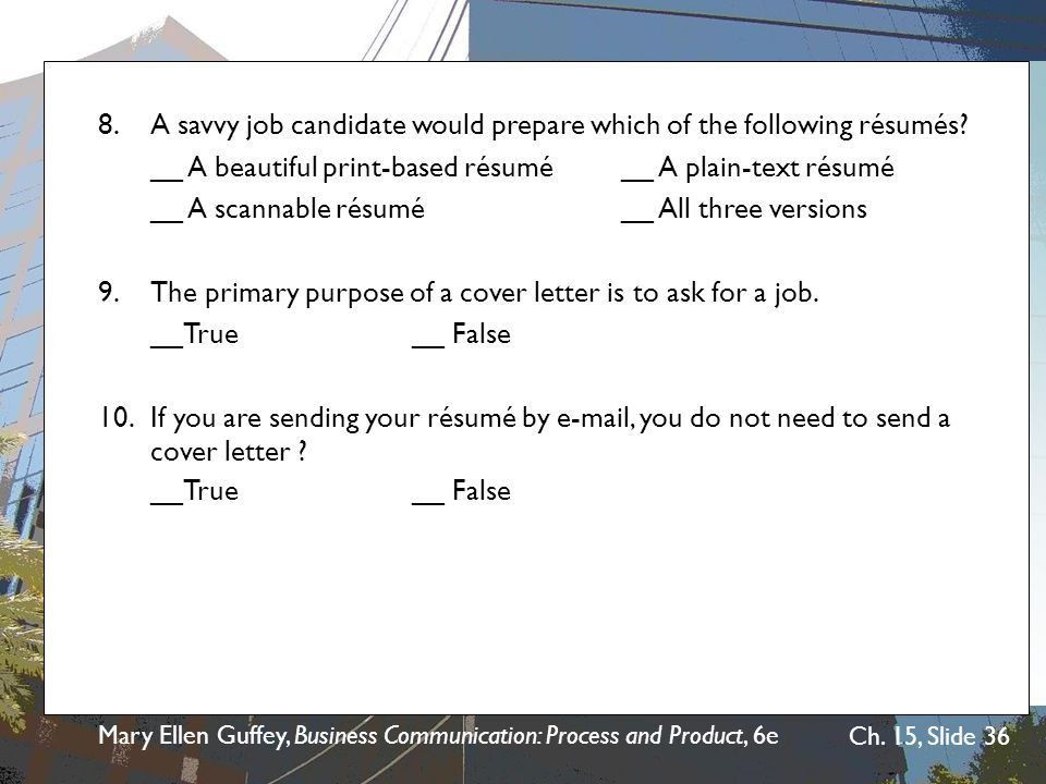 Chapter 15 The Job Search, Résumés, and Cover Letters - ppt video ...