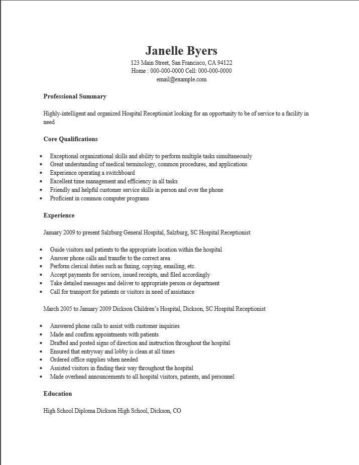 receptionist resume template free