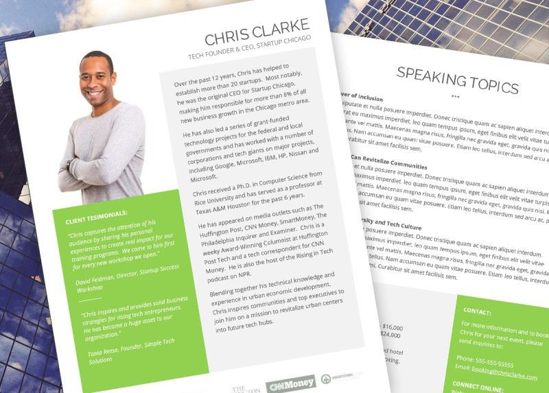 Speaker One Sheet Template *Instant Download* MS Word & Office 365