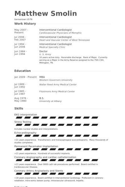 cardiologist resume cardiologist resume samples visualcv resume