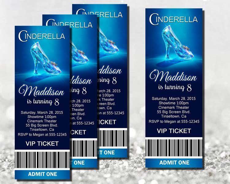2015 Cinderella Invitation Movie Ticket Cinderella Party