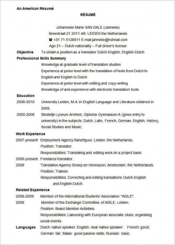 download american resume haadyaooverbayresortcom - American Resume Samples