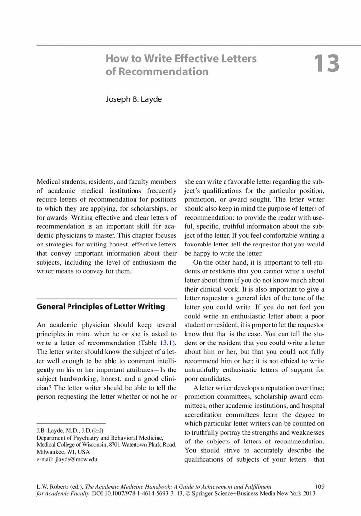 How to Write Effective Letters of Recommendation - Springer