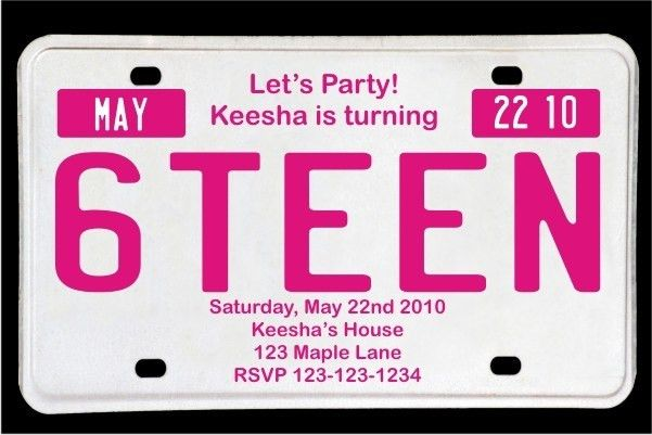 Sweet 16 License Plate Birthday Invitation - Magenta Personalized ...