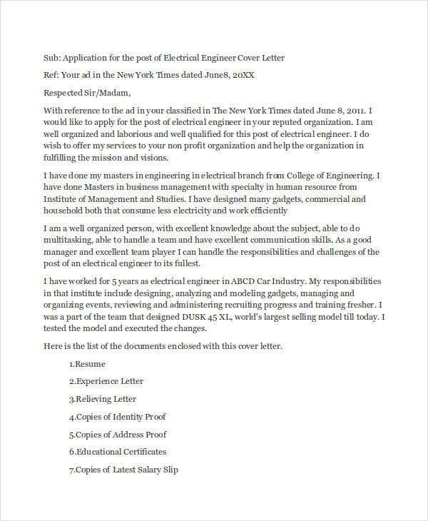 9+ Job Application Letters for Engineer - Free Sample, Example ...