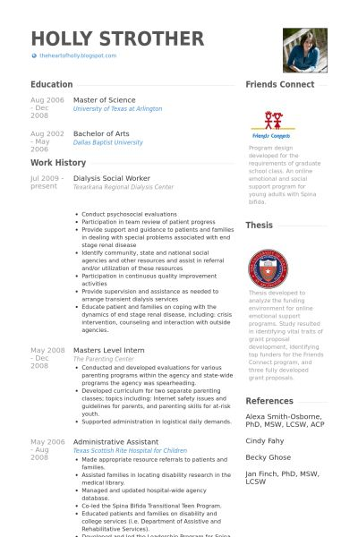 Professional Resume For Social Servic