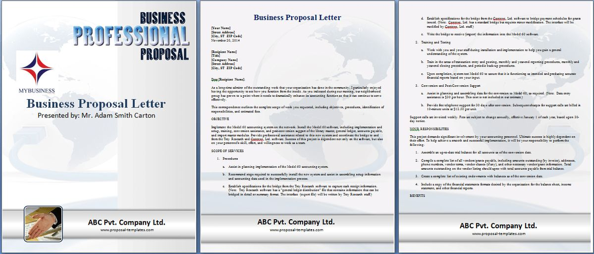 Formal Business Proposal Letter Template | Proposal Templates