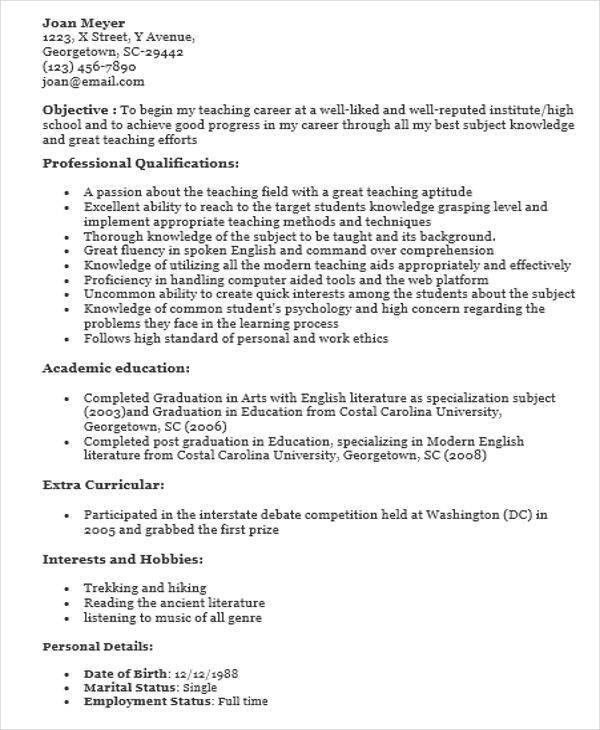 first time teacher resume how to prepare a resume best ideas