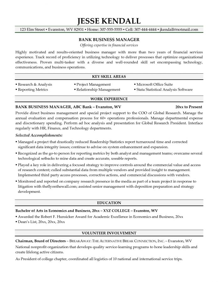 Gorgeous Design Sample Business Resume 5 Business Resume Example ...