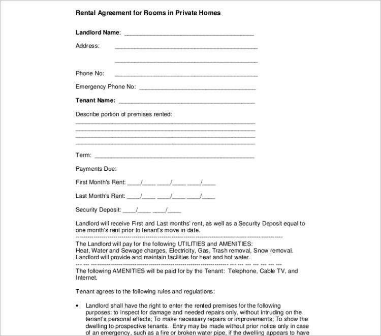 Room Rental Agreement Template - Free Word, Form, Documents ...