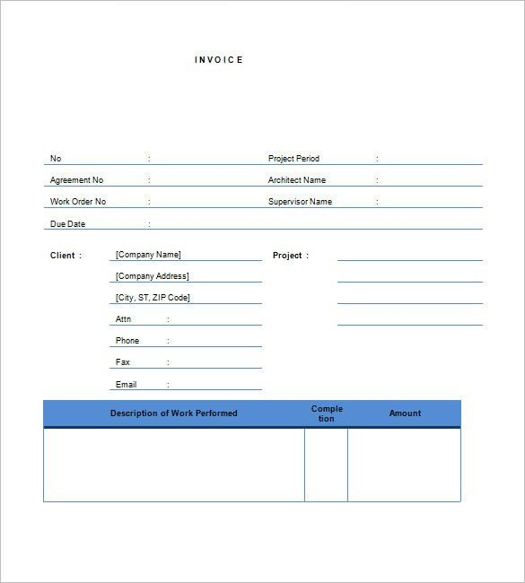 sample contractor invoice template free