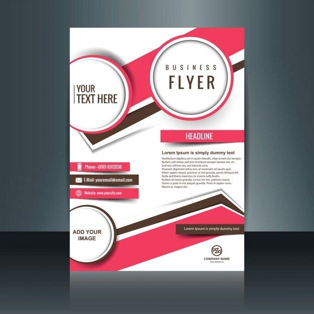 Company flyer with circles and abstract shapes in fuchsia color ...