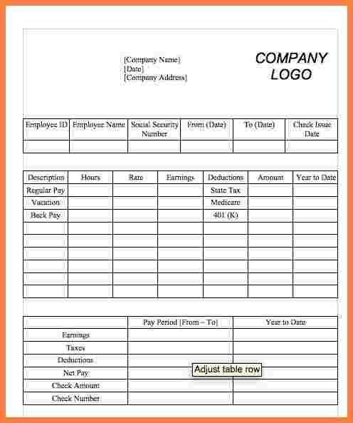 5+ paycheck template word | Securitas Paystub