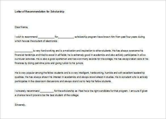 Template Of Recommendation Letter For A Student - Huanyii.com