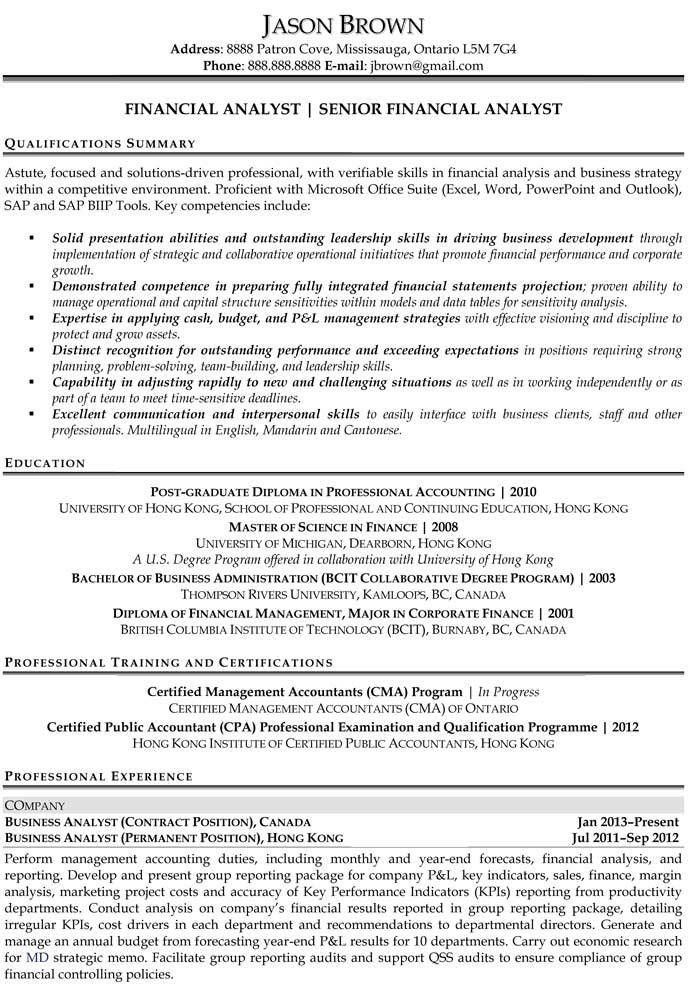 financial analyst resume samples. perfect financial analyst resume ...