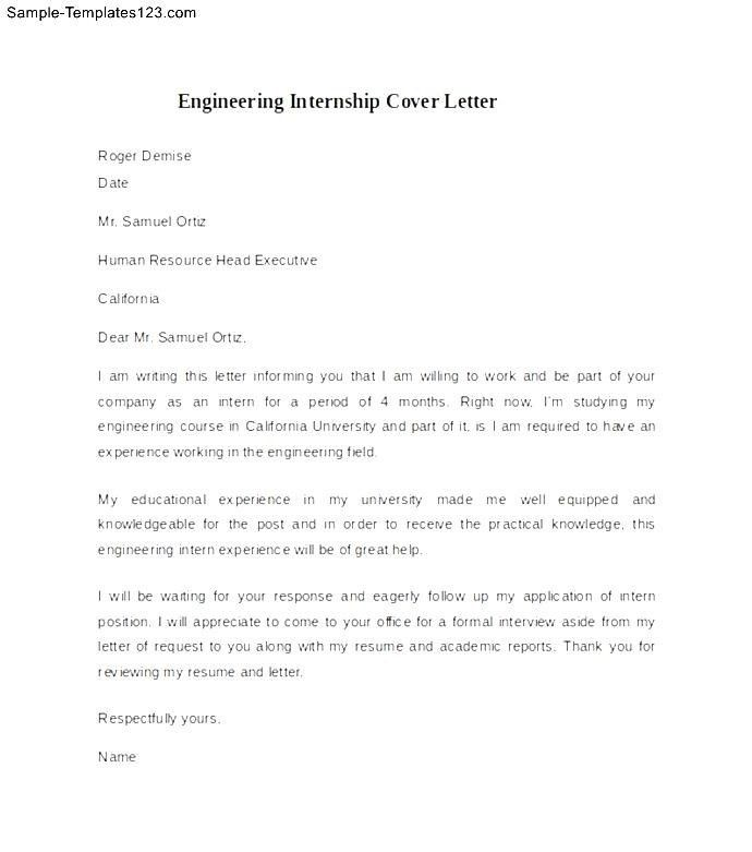 sample internship cover letter format template. internship cover ...