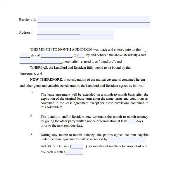 Month to Month Lease Agreement Templates - 8+ Samples , Examples ...