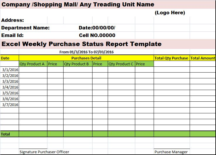 Excel Weekly Purchases Status Report Template – Free Report Templates